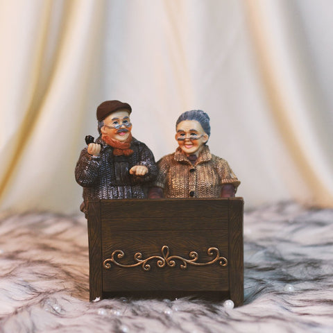 Painted Old Couple Figurine For Lovers