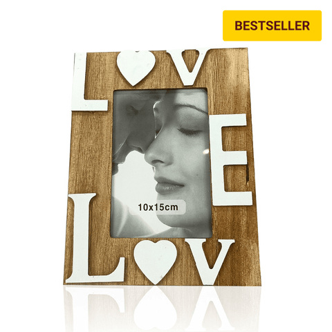 wooden photo frame with 3d words