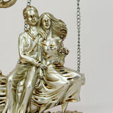 Silver Couple Figurine - Cute Lovers Swing on Tree