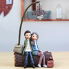 Lovers Sitting with Fireplace, Decorative Gift Ornament for Couples