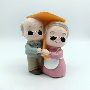 Cute Granny Under Umbrella, Lovely couple figurine Gift for Old Couple