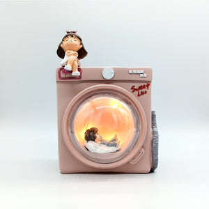 Cute Angry Girl Punishing Boy, Unique Funny Miniature Lamp Gift for Couple
