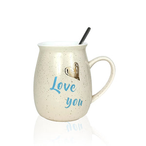 Love You Mug - Lovely Ceramic Coffee Mug with Lid & Spoon
