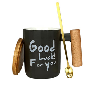 Best Wishes Tea/Coffee Mugs with wooden handle