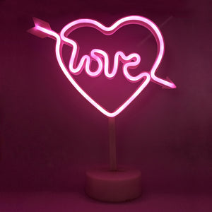 Pink Neon Sign Light | Battery & USB Operated | Valentine's Décor