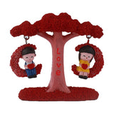 Lovely Couple Swing on Flowery Tree Miniature Couple Figurine