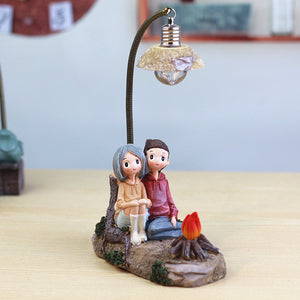 Lovers Sitting with Fireplace, Decorative Gift Ornament for Couples - Giftii