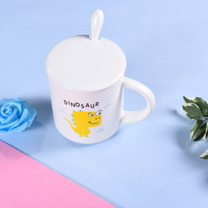 Cute Little DINOSAUR Mugs | Premium Drinkware with Lid & Spoon