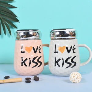 Love & Kiss Quoted Mug Lovers | Mug with Lid
