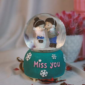 Miss You, Musical Crystal Snow Dome: Gift for Young Couple
