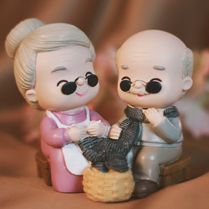 Cute Granny knitting muffler, Lovely couple figurine Gift for Old Couple