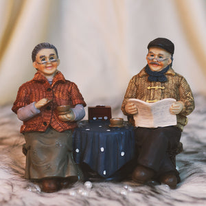 Old Couple Playing Board Game, Decorative Gift Ornament