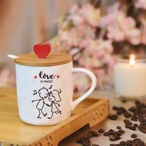 Love is Magic - Lovely Ceramic Coffee Mug with Spoon & Wooden Lid