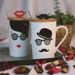 Mr. & Mrs. Coffee Mug for Couples | Mug with Decorative Lid & Spoon