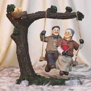Cute Grandparents Swing Living Room Decorative Handcrafted Figurine