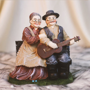 Old Couple with Guitar - Lovely Couple Figurine Gift for Grandparents