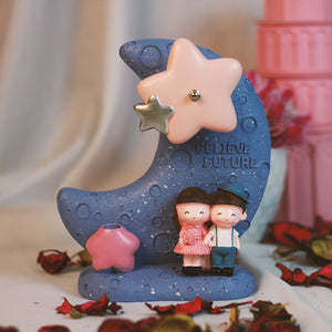 Cute Couple on Moon, Lovely Musical Windmill - Gift for Couple/Lovers