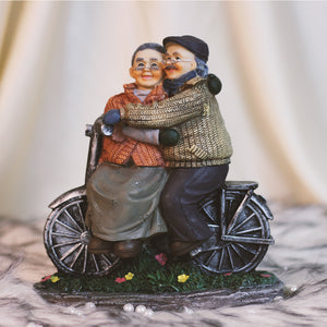Old Couple Riding Bicycle, Decorative Gift Ornament