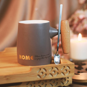GOOD LIFE Quotes Tea/Coffee Mugs with Wooden Lid & Handle Eco Friendly Edition