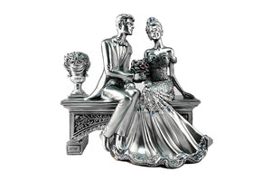 Shining Silver Lovers Together - Polyresin Couple Figurine Gift for Lovers