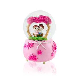 Lovely Pink Couple Snow Dome: Gift for Couple