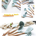 Green Silicone Utensils with Wooden Handle