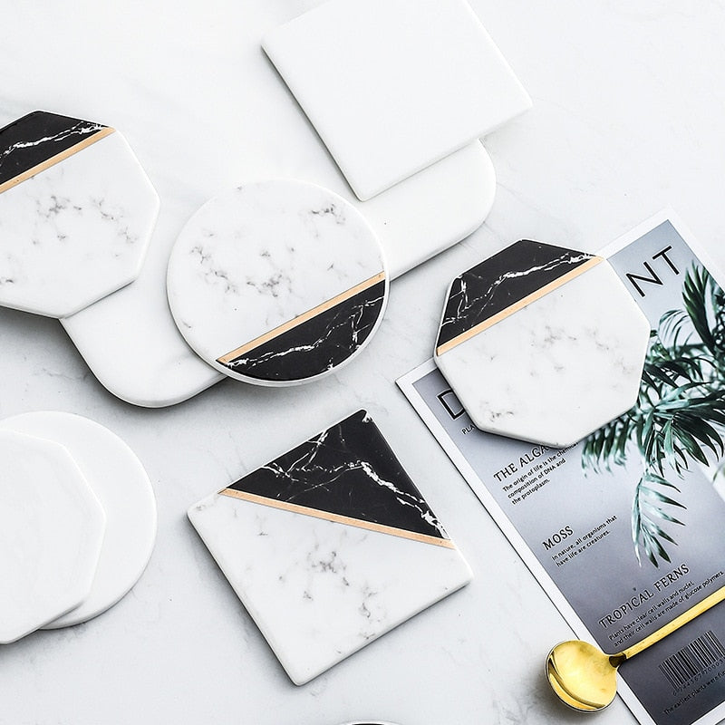 B&W Ceramic Coasters with Gold Lining