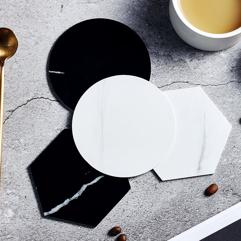 1 Piece Plastic Marble Patterned Coaster