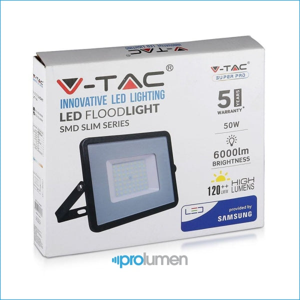 V-Tac Pro Vt-56 Faro Led Smd 50W High Lumens Ultrasottile Chip Samsung Da Esterno Colore Nero - Sku