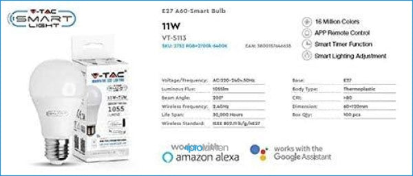 V-Tac Smart Light Vt-5113 Lampadina E27 Wifi 11W A60 Dimmable Rgb+3In1 Gestione Smartphone - Sku