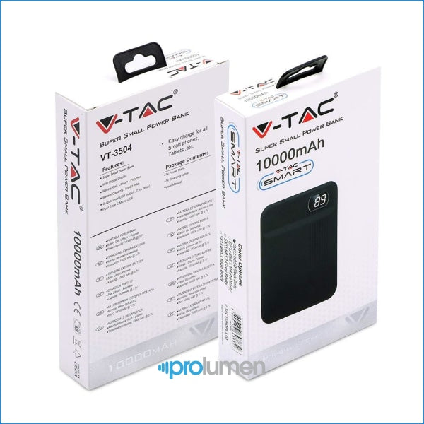 V-Tac Vt-3504 Power Bank Portatile 10000 Mah 2 Uscite Usb 1A - Sku 8850 / 8851 8852 8853