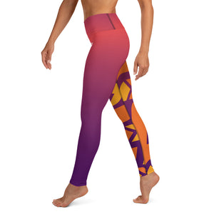 Raised Waist Leggings (SL-Purple/Orange)