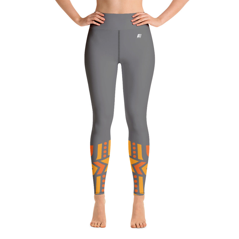 Raised Waist Leggings (LL-Grey/Orange)