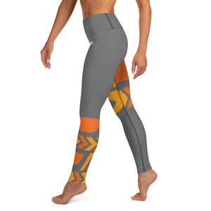 Raised Waist Leggings (ST-Grey/Orange)
