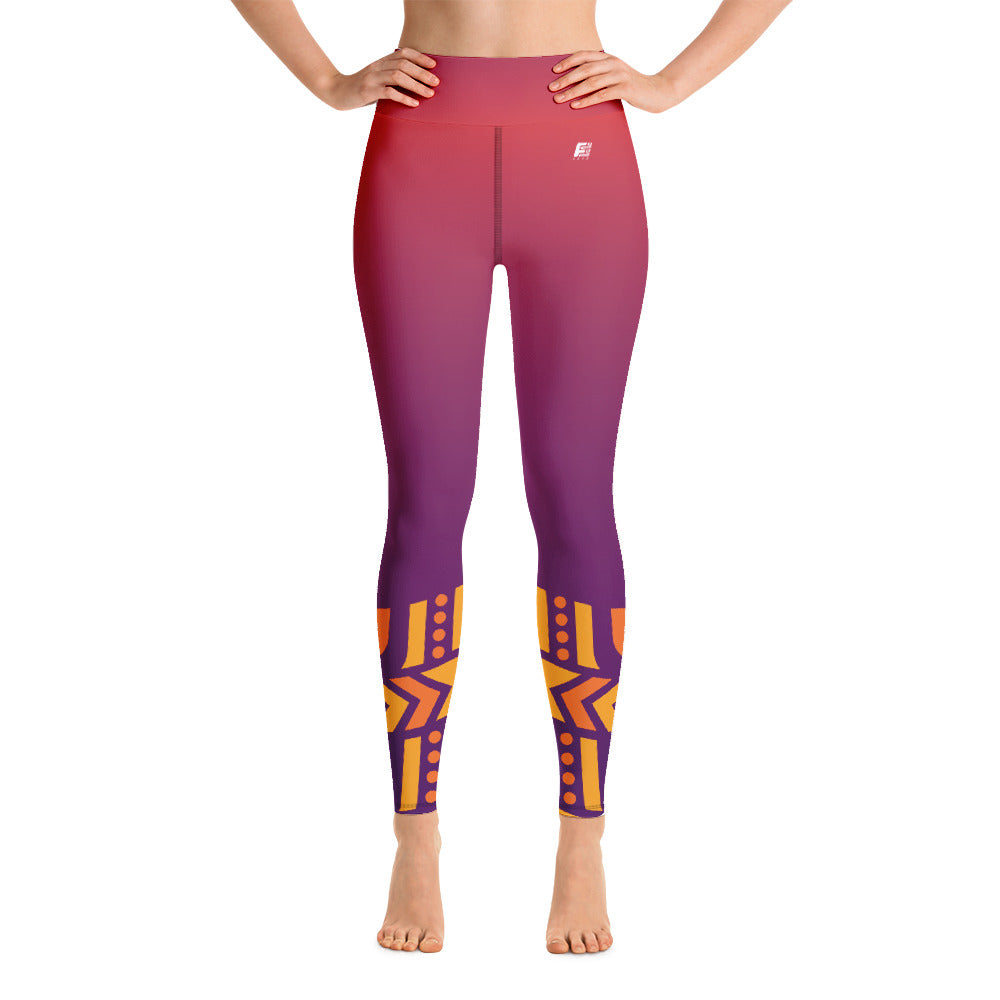 Raised Waist Leggings LL-Purple/Orange)