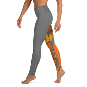Raised Waist Leggings (SL-Grey/Orange)