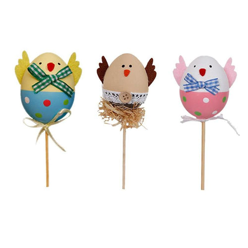 1PCS Funny Chick Design Plastic Coloring Painted Easter Eggs With Sticks Kids Gifts Toys For Christmas Easter Home Party Favors