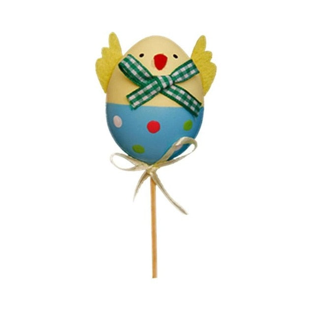 1pcs Funny Chick Design Plastic Coloring Painted Easter Eggs With Sticks Kids Gifts Toys For Christmas Easter Home Party Favors Selected Material Craft Toys