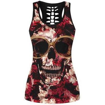 Skull Print Hollow Out Back Tank Top
