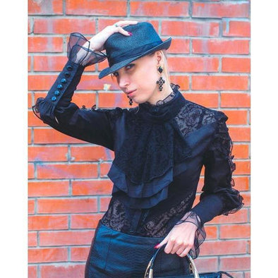 Black Gothic Lace Long Sleeve Stand Collar Chiffon Top
