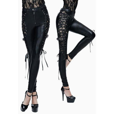 Black Gothic Punk Lace Hollow Out PU Leather Trousers