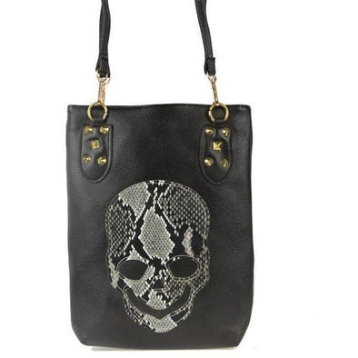 Skull Bag Black Print Casual PU Leather Tote