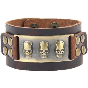 Punk Leather Skull Wide Wristband Bracelet