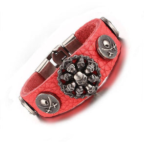 Punk Rock Skull Leather Bracelet
