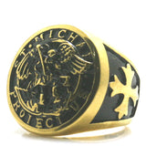 BAGUE RELIGIEUSE OR SAINT MICHEL ARCHANGE CHEVALIER NOIR