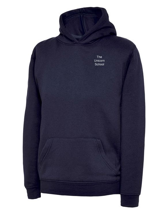 Unicorn Branded School Hoodie (School Years 7-11) Embroidered White Text (UC503Navy)