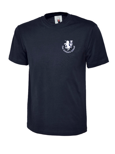 Unicorn Branded School T-Shirt (School Years 2-6) Printed Unicorn Logo (UC306Navy)
