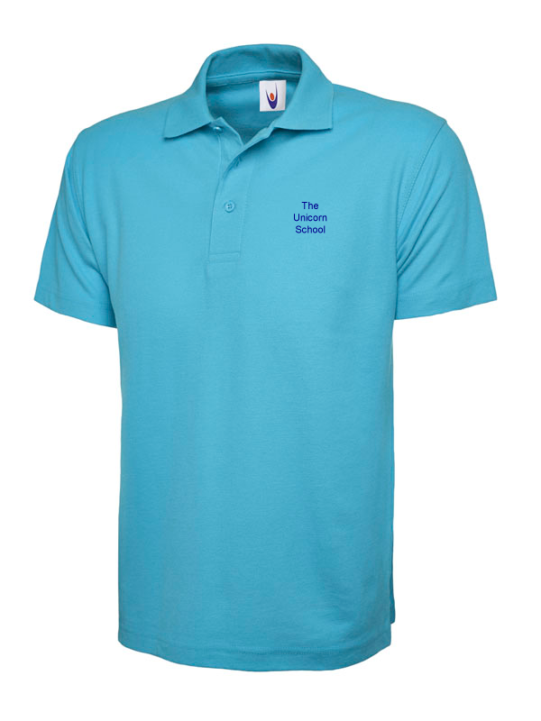 Unicorn Branded School GIRLS Polo Shirt (School Years 7-11) Printed Text Logo (SS402,SS417)