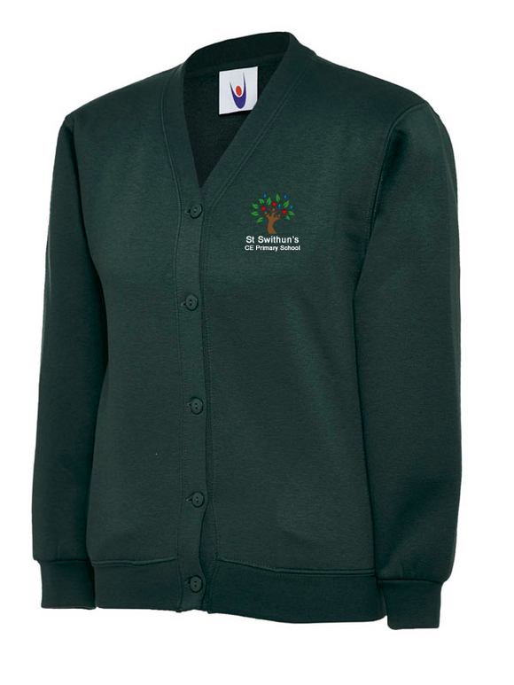 St Swithun's CE Primary School Cardigan Bottle Green - UC207