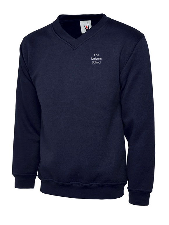 Unicorn Branded School V Neck Jumper (School Years 7-11) Embroidered White Text (PR400Navy))
